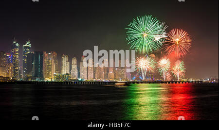 National Day fire works in Dubai Marina - Stock Photo