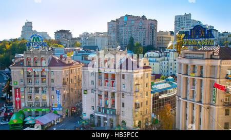 Kiev Downtown street, Ukraine - Stock Photo