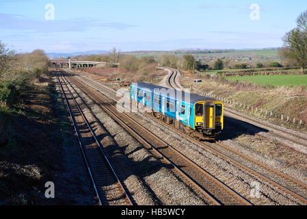 Arriva Trains Wales 150236 passes through Bishton and the Bishton Flyover with 2G58 1115 Maesteg to Cheltenham Spa - Stock Photo
