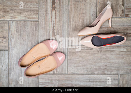 Overhead view of woman#39;s shoes - Stock Photo