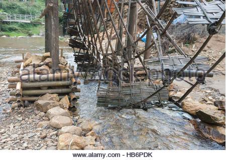 Sapa vietnam cat cat village elaborate water wheels made for Making bamboo things