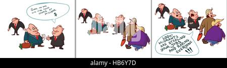 Colorful vector comic of corrupt politicians, lying the people, to cover their crimes. - Stock Photo