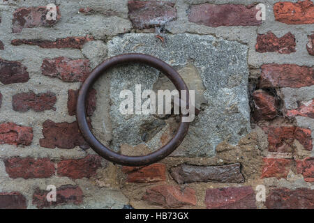 Iron ring on a wall - Stock Photo