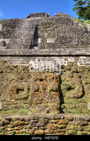 Stucco Mask, The High Temple, Lamanai Mayan Site, Belize - Stock Photo