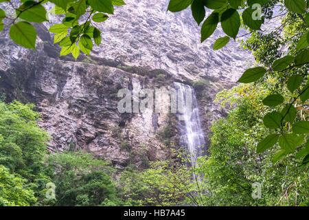 waterfall view in zhangjiajie grand canyon - Stock Photo