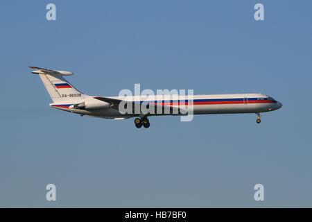 FRANKFURT, GERMANY - MARCH 2010 Ilyushin Il62 from Russia at Frankfurt. - Stock Photo