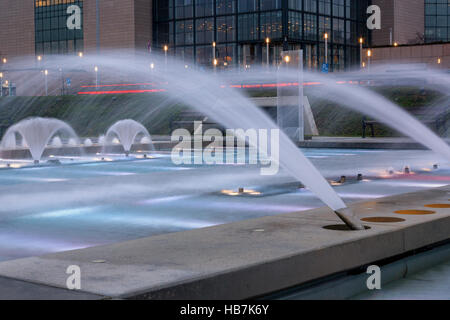 Fountains in front of National University Library in Zagreb, capital of Croatia - Stock Photo