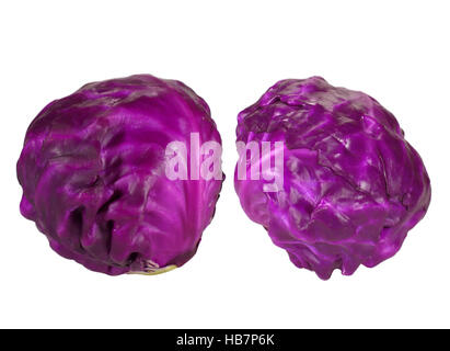 Two fresh whole red ripe cabbages isolated on white background - Stock Photo