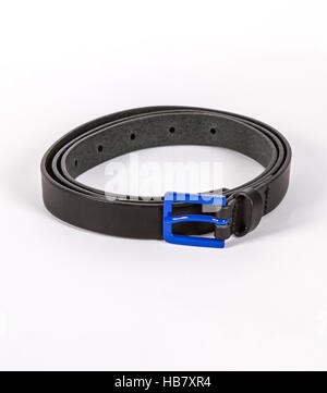 black  Leather belt for men and women with blue buckle on white background - Stock Photo