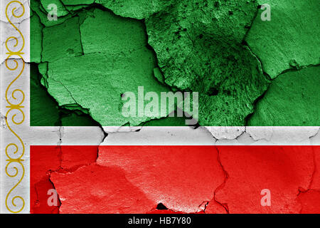 flag of Chechnya painted on cracked wall - Stock Photo
