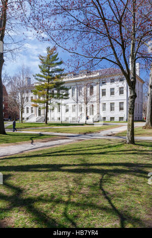 CAMBRIDGE, MA, USA - APRIL 9, 2016: University Hall on Harvard University campus in spring in Cambridge, MA, USA - Stock Photo