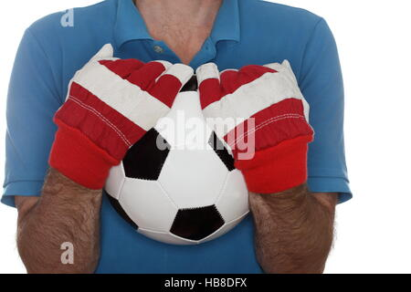 holding a soccer ball - Stock Photo