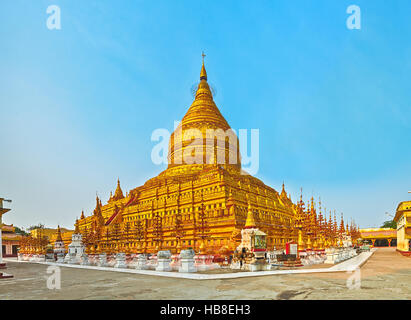 Shwezigon pagoda in Bagan. Myanmar. Panorama - Stock Photo