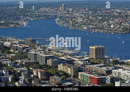 View of Lake Union from Space Needle tower, Seattle, Washington, USA - Stock Photo