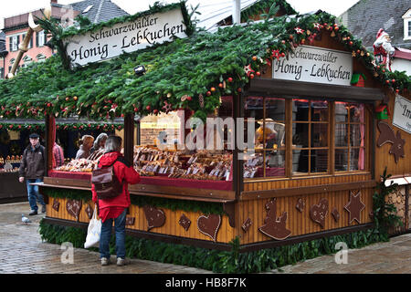 Christmas Fair Market at Ludwigsberg, Germany, Schwartzwalder Honey Lebkuchen booth, traditional spice cookies - Stock Photo