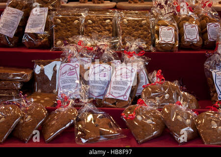 Christmas Fair Market at Ludwigsberg, Germany, food booth selling traditional holiday breads, cakes and cookies. - Stock Photo