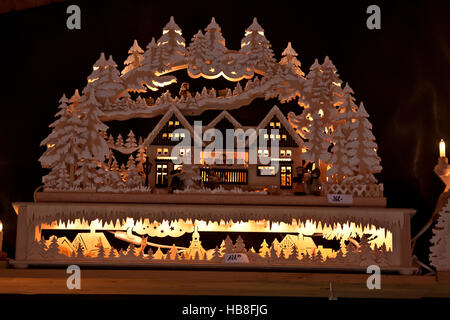 Christmas Fair Market at Ludwigsberg, Germany, carved wooden candle carousel, village scene, candlelit, fretwork, - Stock Photo