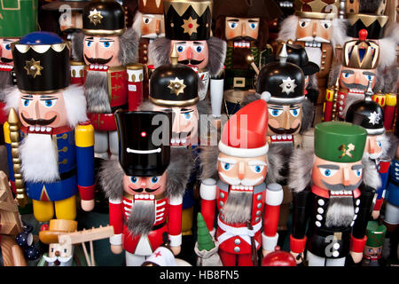 Christmas Fair Market at Ludwigsberg, Germany, wooden soldiers, Santa Claus, policemen, on sale at Christmas, Holiday, - Stock Photo