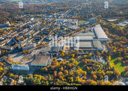 Aerial view, Fair Essen expansion at Grugapark, Essen, Ruhr area, North Rhine-Westfalia, Germany, Europe, Aerial - Stock Photo