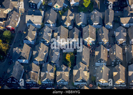 Aerial view, age spots, historical town center of Freudenberg, half-timbered houses, Freudenberg, Siegen-Wittgenstein, - Stock Photo