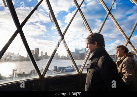 View of O2 and London city skyline from the lighthouse at Trinity Buoy Wharf, London, UK - Stock Photo