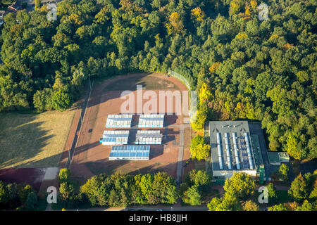 Aerial view, refugee container at the comprehensive school Rentfort, Gladbeck, Ruhr area, North Rhine-Westfalia, - Stock Photo