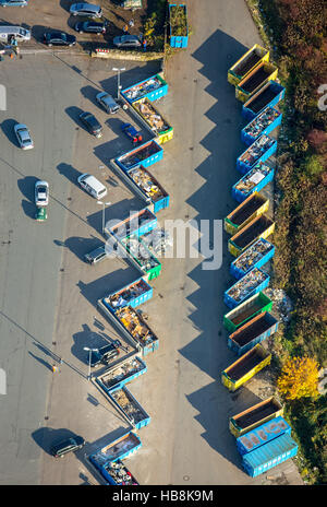 Aerial view, Recycelinghof Hamm Am Lausbach, landfill, recycling center, waste separation, recycling, colorful containers, - Stock Photo