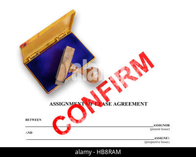 Assignment Of Lease  Confirm Stock Photo Royalty Free Image
