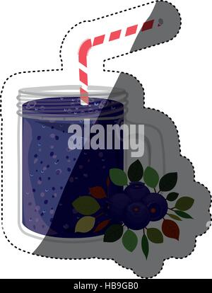 Blueberry juice icon. Smoothie drink beverage and fruit theme. Isolated design. Vector illustration - Stock Photo