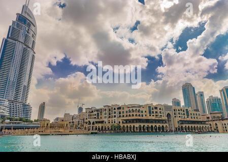 Souk Al Bahar and The Address Hotel, Dubai - Stock Photo