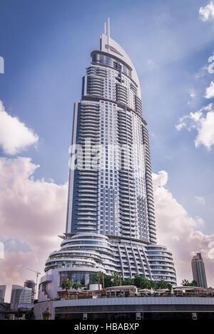 The luxury Address Hotel in Dubai - Stock Photo