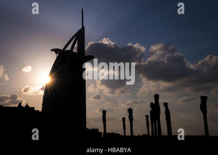 The view of the Burj Al Arab silhouette - Stock Photo