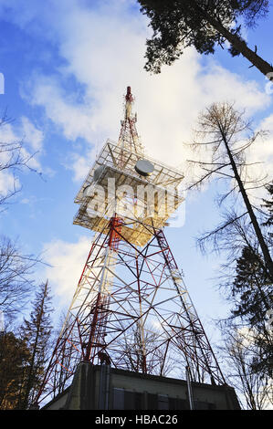 Transmission Tower in red white red - Stock Photo