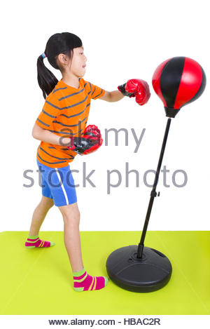 Mädchen boxt - Stock Photo