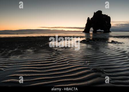 Rock Hvitserkur in Iceland at wintertime - Stock Photo