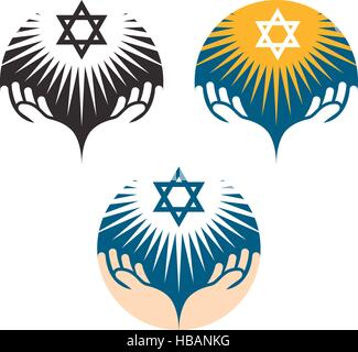 Star of David icons. Hanukkah symbol - Stock Photo