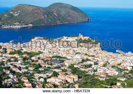 View of Lipari Town, Sicily, Italy - Stock Photo