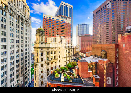 New York City cityscape amongst financial district buildings. - Stock Photo