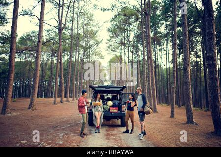 Friends Parked Car Forest Concept - Stock Photo