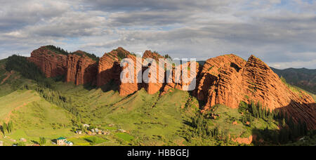 Landscape at dawn of the seven bulls from a viewpoint, in Kyrgyzstan - Stock Photo