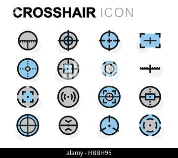 Vector flat crosshair icons set on white background - Stock Photo