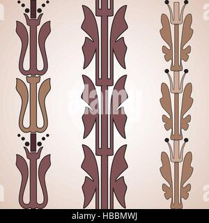 Vintage decorative set brown floral pattern seamless vertical border vector illustration isolated on white background - Stock Photo