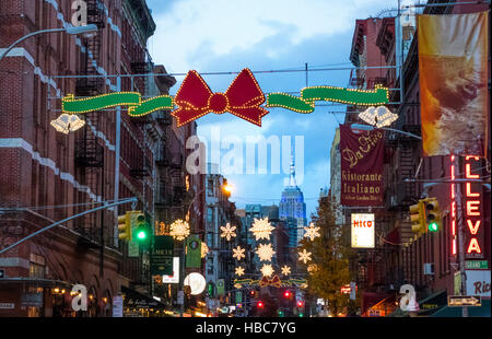 The Empire State Building seen from Mulberry Street in Little Italy before Christmas - Stock Photo