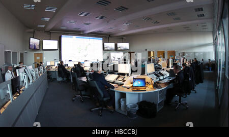 Hamburg, Germany. 5th Dec, 2016. Police officials at work at the operational headquarters in the police headquarters - Stock Photo