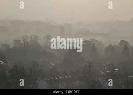 Wimbledon, London, UK. 7th December 2016. UK Weather. Autumn mist covers Wimbledon urban landscape Credit:  amer - Stock Photo