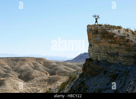Mountain biking Big Bend Ranch State Park in west Texas. - Stock Photo