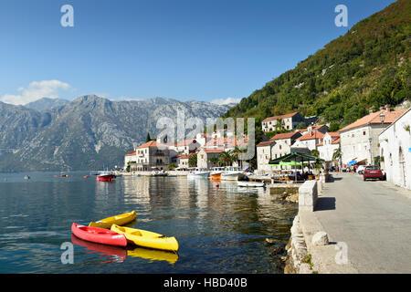 Perast town, Kotor bay, Montenegro, Europe - Stock Photo