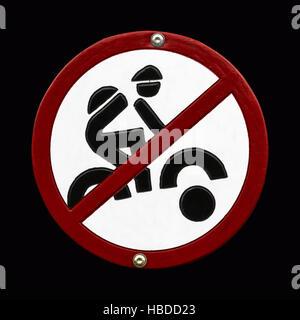 Mountainbiking prohibidden sign - Stock Photo