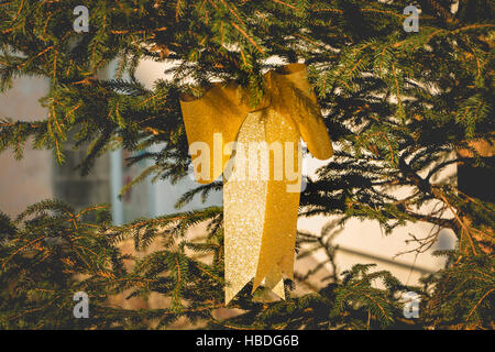 Golden knot hanging on a Christmas tree - close up - Stock Photo