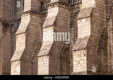 Detail of the flying buttresses on Chartres cathedral. - Stock Photo